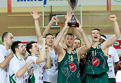 Markota, Ozbolt, Ilievski,  Boisa, Jagodnik, Klemen Lorbek and Dino Muric of Union Olimpija celebrate after winning the basketball match between KK Helios Domzale and KK Union Olimpija in Final of Spar Slovenian Cup, on February 13, 2011 in Sportna dvorana Poden, Skofja Loka, Slovenia. Union Olimpija defeated Helios 92-55 and become Slovenian Cup Champion. (Photo By Vid Ponikvar / Sportida.com)