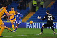 Cardiff City's Junior Hoilett (33) shoots at goal. EFL Skybet championship match, Cardiff city v Preston North End at the Cardiff City stadium in Cardiff, South Wales on Tuesday 31st January 2017.<br /> pic by Carl Robertson, Andrew Orchard sports photography.