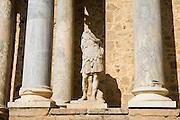 A stone statue missing its head on the stage of the Roman Amphitheater in Merida, Extremadura, Spain.