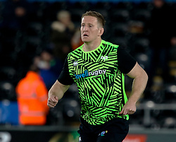 Ospreys' Bradley Davies during the pre match warm up<br /> <br /> Photographer Simon King/Replay Images<br /> <br /> Guinness PRO14 Round 19 - Ospreys v Leinster - Saturday 24th March 2018 - Liberty Stadium - Swansea<br /> <br /> World Copyright © Replay Images . All rights reserved. info@replayimages.co.uk - http://replayimages.co.uk