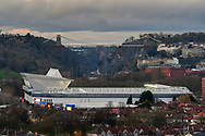 General view across Ashton Gate Stadium with the Clifton Suspension bridge behind ahead of the The FA Cup fourth round match between Bristol City and Bolton Wanderers at Ashton Gate, Bristol, England on 25 January 2019.
