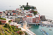 A view of the town of Vernazza, Italy from the hills above