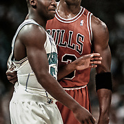 The Chicago Bulls' Michael Jordan intimidates Charlotte Hornets rookie Anthony Goldwire while all the attention was on Scottie Pippen after Pippen drew a foul against the Hornets during an NBA basketball game in Charlotte.  ©Travis Bell Photography
