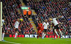 09.11.2013, Anfield, LIVERPOOL, ENG, Premier League, FC Liverpool vs FC Fulham, 11. Runde, im Bild Liverpool's Martin Skrtel [hidden] scores the second goal // during the English Premier League 11th round match between Liverpool FC and Fulham FC at Anfield in LIVERPOOL, Great Britain on 2013/11/09. EXPA Pictures © 2013, PhotoCredit: EXPA/ Propagandaphoto/ David Rawcliffe<br /> <br /> *****ATTENTION - OUT of ENG, GBR*****