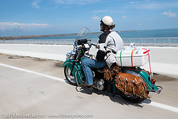Panhead Fred (Stephen Keith) riding his 1948 Indian Chief in the Cross Country Chase motorcycle endurance run from Sault Sainte Marie, MI to Key West, FL. (for vintage bikes from 1930-1948). Stage-10 covered 110 miles from Miami to the finish in Key West, FL USA. Sunday, September 15, 2019. Photography ©2019 Michael Lichter.