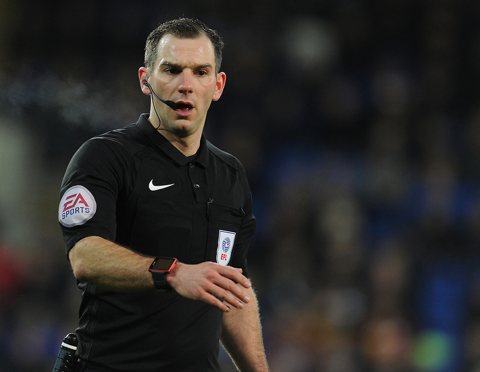 Referee Tim Robinson<br /> <br /> Photographer Kevin Barnes/CameraSport<br /> <br /> The EFL Sky Bet Championship - Cardiff City v Bolton Wanderers - Tuesday 13th February 2018 - Cardiff City Stadium - Cardiff<br /> <br /> World Copyright © 2018 CameraSport. All rights reserved. 43 Linden Ave. Countesthorpe. Leicester. England. LE8 5PG - Tel: +44 (0) 116 277 4147 - admin@camerasport.com - www.camerasport.com