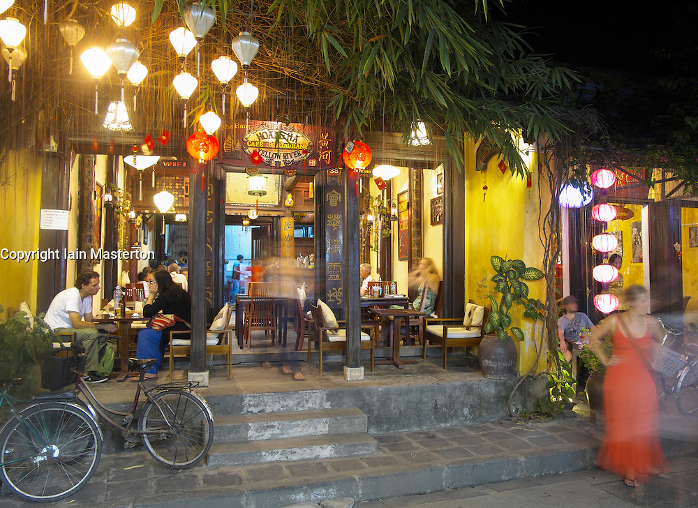 Night view of small bar in Hoian UNESCO world heritage village in Vietnam