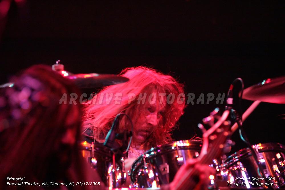 MT. CLEMENS, MI, THURSDAY, JAN. 17, 2008: Primortal, Lenny Doss at Emerald Theatre, Mt. Clemens, MI, 01/17/2008. (Image Credit: Michael Spleet / 2SnapsUp Photography)