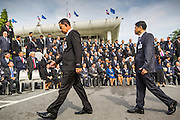 21 AUGUST 2014 - BANGKOK, THAILAND:      Members of the Thai National Legislative Assembly (NLA) file into their group photo setup Thursday at the parliament in Bangkok before meeting to select a new Prime Minster. The NLA was hand selected by the Thai junta, formally called the National Council for Peace and Order (NCPO), and is supposed to guide Thailand back to civilian rule after a military coup overthrew the elected government in May. The NLA unanimously selected General Prayuth Chan-ocha, commander of the Thai Armed Forces and leader of the coup in May that deposed the elected civilian government, as Prime Minister. Prayuth is Thailand's 29th Prime Minister since the 1932 coup that created Thailand's constitutional monarchy.    PHOTO BY JACK KURTZ
