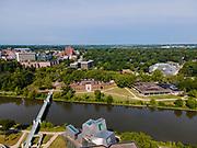 Aerial photograph of the beautiful University of Iowa campus and environs, Iowa City, Iowa, USA.