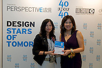 Karen Chan, Perspective Group Sales Director presents Debbie Leung from Mooi Living with an award at the Perspective Magazine 40 Under 40 award ceremony.