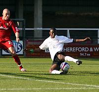 Photo: Mark Stephenson.<br /> Hereford United v Milton Keynes Dons. Coca Cola League 2. 20/10/2007.Hereford's Theo Robinson  tries a shot