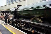 London, United Kingdom, May 20, 2021: World-famous steam locomotive Flying Scotsman arrived and departed at London Victoria station on Thursday, May 20, 2021. It was a rail tour with Steam Dreams. (Photo by Andrew Blowers/VXP)