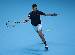 November 17, 2016 - London, United Kingdom - Novak Djokovic (SRB)(2) action against David Goffin (BEL)(9) in their  Ivan Lendl Group  match during Day Five  of the Barclays ATP World Tour Finals 2015 played at The O2 Arena, London on November 17th  2016. (Credit Image: © Kieran Galvin/NurPhoto via ZUMA Press)