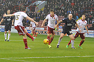 Sheffield United defender Neill Collins scores for sheffield united to go 2 all  during the Sky Bet League 1 match between Sheffield Utd and Southend United at Bramall Lane, Sheffield, England on 14 November 2015. Photo by Ian Lyall.