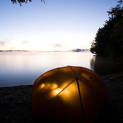 Camping on Sugar Island on Moosehead Lake Maine USA