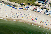 Nederland, Noord-Holland, Texel, 05-08-2014; De Koog, Noordzeestrand met badgasten, badhokjes en strandtenten.<br /> North Sea beach with bathers, beach cabins and beach bars.<br /> luchtfoto (toeslag op standard tarieven);<br /> aerial photo (additional fee required);<br /> copyright foto/photo Siebe Swart