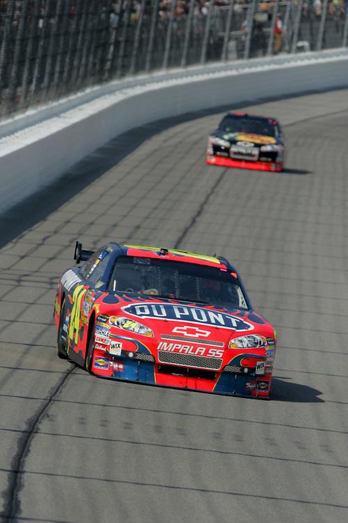 September 28, 2008; Kansas City, KS, USA; NASCAR Sprint Cup Series driver Jeff Gordon (24) during the Camping World RV 400 at Kansas Speedway. Mandatory Credit: Douglas Jones-US PRESSWIRE