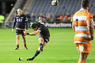 Simon Hickey takes kick during the Guinness Pro 14 2018_19 match between Edinburgh Rugby and Toyota Cheetahs at BT Murrayfield Stadium, Edinburgh, Scotland on 5 October 2018.