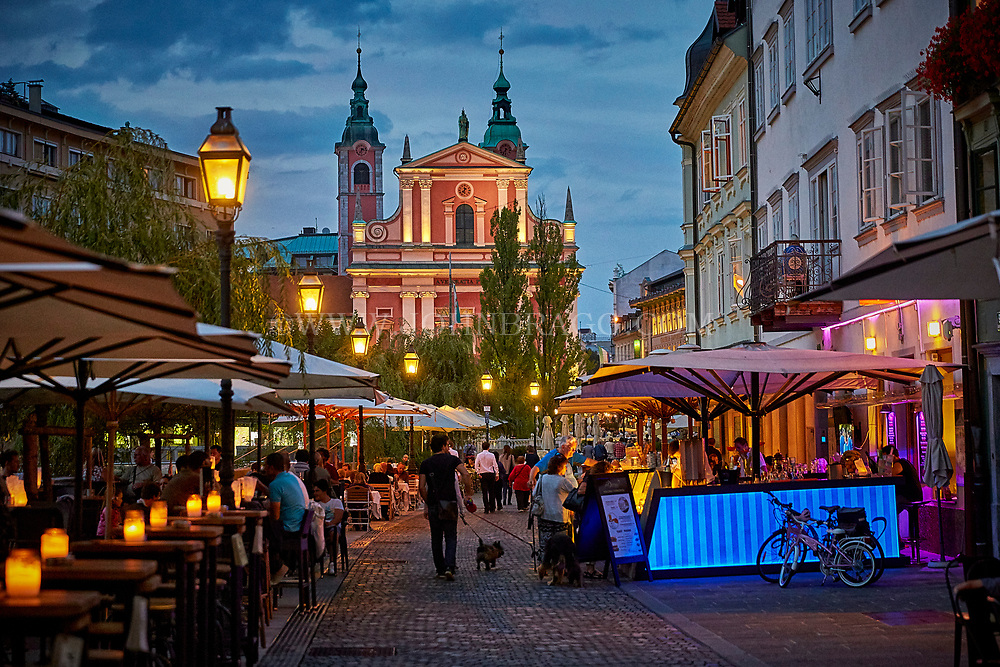 Ljubljana, Slovenia and it's inviting cafes and restaurants along the river.