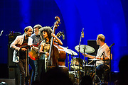 Brooklyn, NY - 28 July 2017. A crowd estimated at 9,000 filled the Prospect Park Bandshell, with an estimated 3,000 outside the fence, for a concert by Esperanza Spalding and Andrew Bird at the BRIC Celebrate Brooklyn! Festival. Andrew Bird on stage with Esperanza Spalding.
