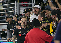 November 1, 2018 - Los Angeles, California, U.S - Danilo Silva #6 of the LAFC celebrates his goal with fans during their MLS playoff game with the Real Salt Lake on Thursday November 1, 2018 at Banc of California Stadium in Los Angeles, California. LAFC vs Real Salt Lake. (Credit Image: © Prensa Internacional via ZUMA Wire)