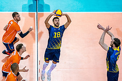 Dardan Lushtaku of Sweden in action during the CEV Eurovolley 2021 Qualifiers between Sweden and Netherlands at Topsporthall Omnisport on May 14, 2021 in Apeldoorn, Netherlands
