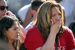 Waiting for word from students at Coral Springs Drive and the Sawgrass Expressway just south of the campus of Stoneman Douglas High School in Parkland, FL, USA, after a shooting on Wednesday, February 14, 2018. Photo by Amy Beth Bennett/Sun Sentinel/TNS/ABACAPRESS.COM