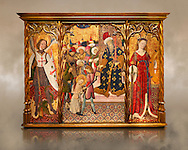 Gothic altarpiece depicting left to right - the Archangel Gabriel, the martyrdom of Santa Eulalia and St Caterina, by Bernat Martorell, circa 1442-1445, Temperal and gold leaf on wood.  National Museum of Catalan Art, Barcelona, Spain, inv no: MNAC  1442. .<br /> <br /> If you prefer you can also buy from our ALAMY PHOTO LIBRARY  Collection visit : https://www.alamy.com/portfolio/paul-williams-funkystock/gothic-art-antiquities.html  Type -     MANAC    - into the LOWER SEARCH WITHIN GALLERY box. Refine search by adding background colour, place, museum etc<br /> <br /> Visit our MEDIEVAL GOTHIC ART PHOTO COLLECTIONS for more   photos  to download or buy as prints https://funkystock.photoshelter.com/gallery-collection/Medieval-Gothic-Art-Antiquities-Historic-Sites-Pictures-Images-of/C0000gZ8POl_DCqE