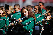 The Manteca marching band performs the Star Spangled Banner before the Buffaloes face Oakdale during Friday Night Lights at Levi's Stadium in Santa Clara, California, on October 11, 2014. (Stan Olszewski/ Special to The Record)