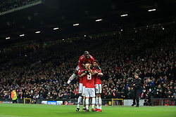 5th December 2017 - UEFA Champions League - Group A - Manchester United v CSKA Moscow - Man Utd players celebrate their 2nd goal - Photo: Simon Stacpoole / Offside.