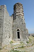 The ruins of a minaret of the Ottoman mosque in in  Rozafa castle, Kalaja e Rozafës. Shkodër, Albania. 02Sep15