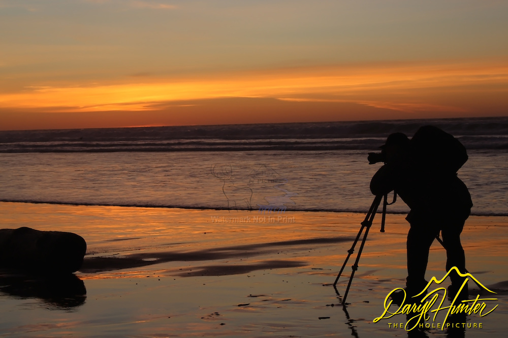 Photographer, sunset, beach, silhouette, Morro Bay, California