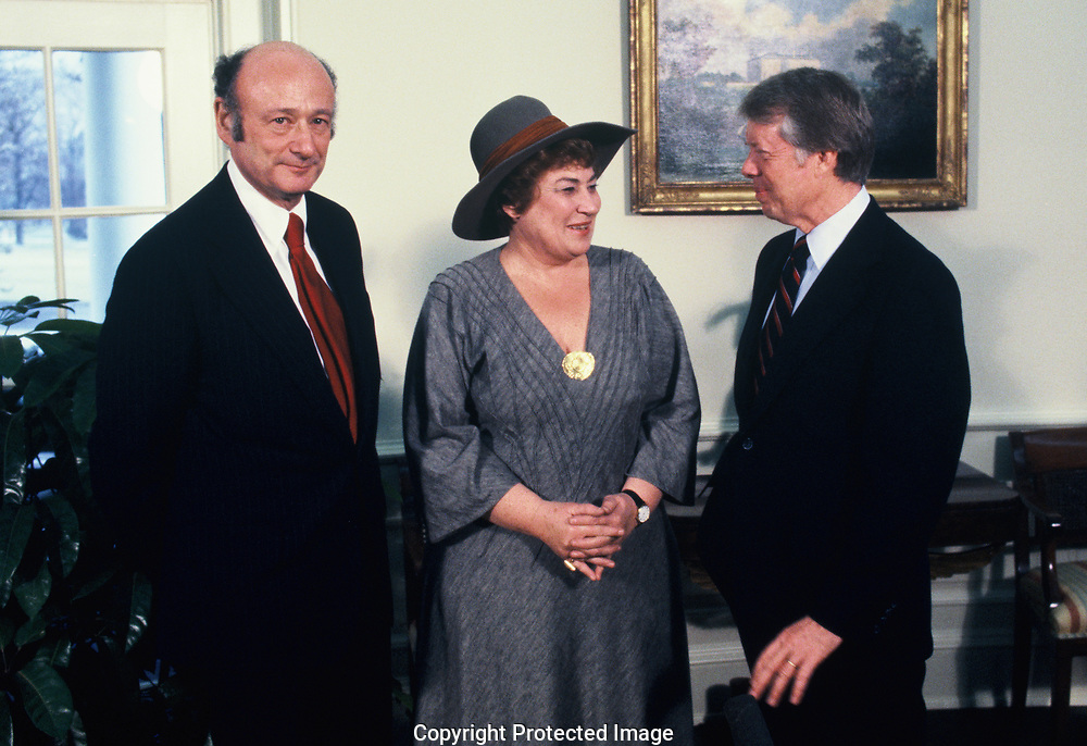 President Jimmy Carter, Mayor Ed Koch and Rep. Bella Abzug in the Oval Office in February 1978<br /> Photo by Dennis Brack