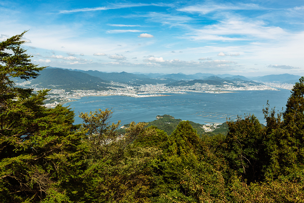 A view of the Hiroshima Bay and the city of Hiroshima, from the Mount Misen Observatory on Itsukushima Island (Miyajima), Hiroshima prefecture, Japan.
