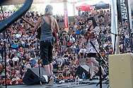 Susie Brown and Danelle Leverett of the JaneDear Girls played in Fresno, California at the Woodward Park Amphitheater. At the time of the concert, the duo had a number one video for the song Wildflower.