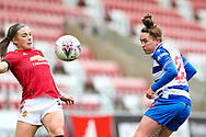Readingmidfielder Rachel Rowe (23) heads the ball during the FA Women's Super League match between Manchester United Women and Reading LFC at Leigh Sports Village, Leigh, United Kingdom on 7 February 2021.