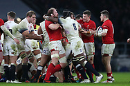 Alun Wyn Jones of Wales and Maro Itoje of England (5) square up to each other in the 1st half. England v Wales, NatWest 6 nations 2018 championship match at Twickenham Stadium in Middlesex, England on Saturday 10th February 2018.<br /> pic by Andrew Orchard, Andrew Orchard sports photography