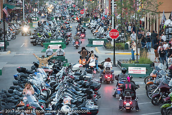 Main Street as the sun was going down on the last day of the annual Sturgis Black Hills Motorcycle Rally. SD, USA. Saturday August 12, 2017. Photography ©2017 Michael Lichter.