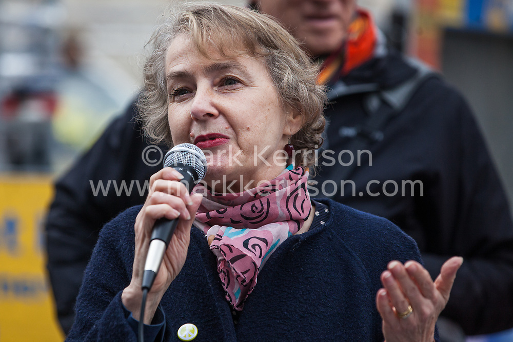 London, UK. 3 May, 2019. Kate Hudson, General Secretary of the Campaign for Nuclear Disarmament (CND), addresses campaigners from CND, Stop the War Coalition, the Peace Pledge Union, the Quakers and other faith groups protesting outside Westminster Abbey against the holding of a National Service of Thanksgiving to mark fifty years of the Continuous at Sea Deterrent (CASD) attended by dignitaries including the Duke of Cambridge and the newly appointed Defence Secretary Penny Mordaunt.
