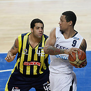 Efes Pilsen's Lawrence ROBERTS (R) and Fenerbahce Ulker's Sean Gregory MAY (L) during their Turkish Basketball league derby match Efes Pilsen between Fenerbahce Ulker at the Sinan Erdem Arena in Istanbul Turkey on Sunday 24 April 2011. Photo by TURKPIX
