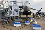 BAE Systems Typhoon jet fighter, exhibited with missile and smart bomb systems, at the Farnborough Air Show, England.