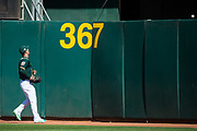 Oakland Athletics right fielder Stephen Piscotty (25) watches a solo home run hit by San Francisco Giants third baseman Pablo Sandoval (48) go over the wall at Oakland Coliseum in Oakland, California, on March 25, 2018. (Stan Olszewski/Special to S.F. Examiner)