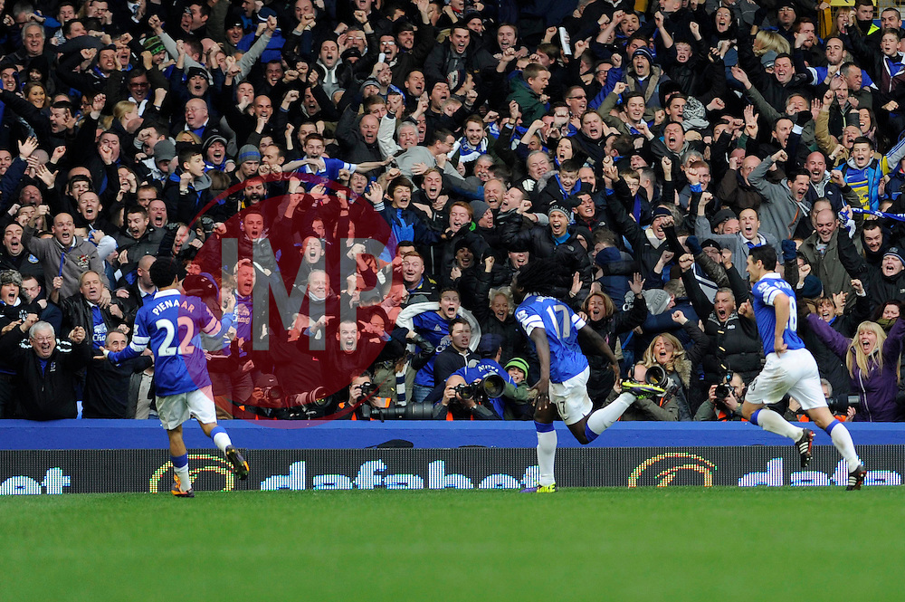 Everton's Romelu Lukaku celebrates his goal. - Photo mandatory by-line: Dougie Allward/JMP - Tel: Mobile: 07966 386802 23/11/2013 - SPORT - Football - Liverpool - Merseyside derby - Goodison Park - Everton v Liverpool - Barclays Premier League