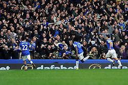 Everton's Romelu Lukaku celebrates his goal. - Photo mandatory by-line: Dougie Allward/JMP - Tel: Mobile: 07966 386802 23/11/2013 - SPORT - Football - Liverpool - Merseyside derby - Goodison Park - Everton v Liverpool - Barclays Premier League