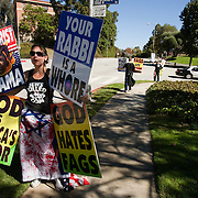 Members of the Westboro Baptist Church demonstrate in Los Angeles. Picketing Hillel Council at UCLA. (Note: Although she would not provide her name, the woman is believed to be Libby Phelps)