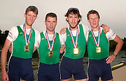 2005 FISA World Cup, Rotsee, Lucerne, SWITZERLAND, 10.07.2005 Ireland's LM4- line up with their medals', after winning the final of the men's lightweight fours, at the FISA World Cup regatta held on Lake Rotsee, Lucerne. [Full crew Timmy Harnedy, Eugene Coakley, Richard Archibald and Paul Griffin. © Finals Day, Peter Spurrier.  email images@intersport-images..[Mandatory Credit Peter Spurrier/ Intersport Images] Rowing Course, Lake Rottsee, Lucerne, SWITZERLAND.