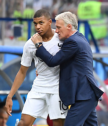 Kylian Mbappe with Didier Deschamps during the FIFA World Cup 2018 Round of 8 match at the Nizhny Novgorod Stadium Russia, on July 6, 2018. Photo by Christian Liewig/ABACAPRESS.COM