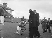 All Ireland Senior Football Championship Final, Kerry v Down, 25.09.1960, 09.25.1960, 25th September 1960, Down 2-10 Kerry 0-8, .Kerry Captain, P.Sheehy kisses ring of most rev. Dr. Morris Archbishop of Cashel, ..Referee: J. Dowling (Offaly),.Captain: K. Mussen,.