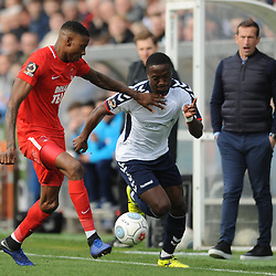 TELFORD COPYRIGHT MIKE SHERIDAN 23/3/2019 - Dan Udoh of AFC Telford takes on Marvin Ekpiteta of Orient during the FA Trophy Semi Final fixture between AFC Telford United and Leyton Orient at the New Bucks Head